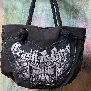 📌Crash & Burn Cotton foil graphic Tote bag